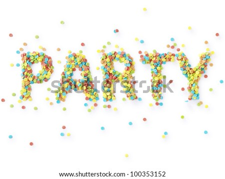 Text Party in candy confetti - stock photo