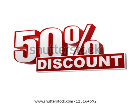 text 50 percentages discount 3d red white banner, letters and block, business concept - stock photo