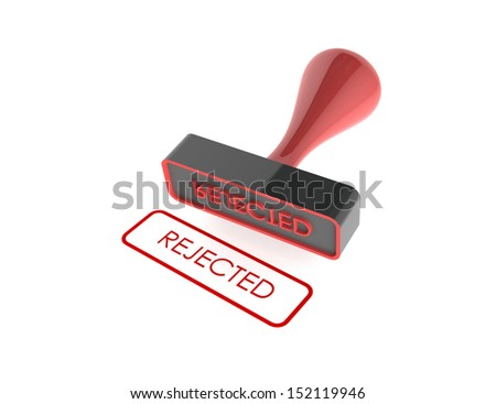"text "" Rejected "" rubber stamp on white background"
