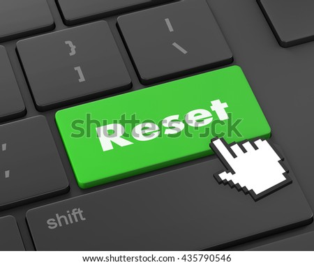 Text reset button, 3d rendering - stock photo