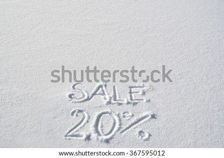 Text SALE 20% hand written on snow background. Horizontal banner template. Space for copy, lettering. - stock photo