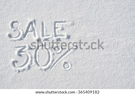 Text SALE 30% hand written on snow background. Horizontal postcard template. Space for copy, lettering. - stock photo