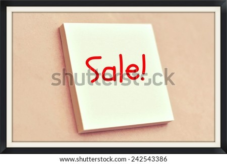 Text sale on the short note texture background