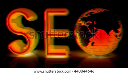text 'SEO' with earth. 3D illustration. Anaglyph. View with red/cyan glasses - stock photo