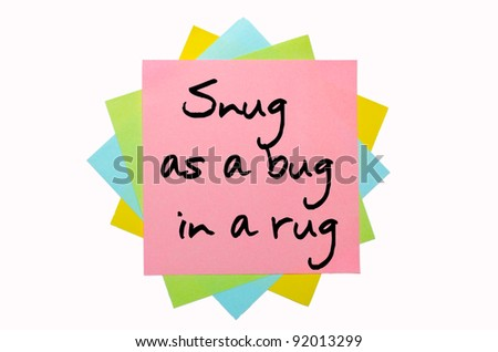 "text "" Snug as a bug in a rug "" written by hand font on bunch of colored sticky notes"