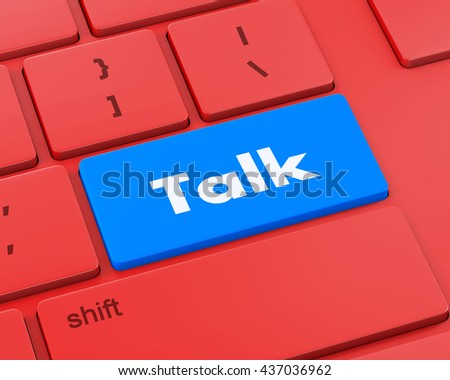 Text talk button, 3d rendering