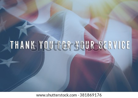 Text Thank You For Your Service on American flag background - stock photo