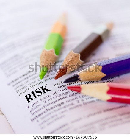Text the word RISK - stock photo