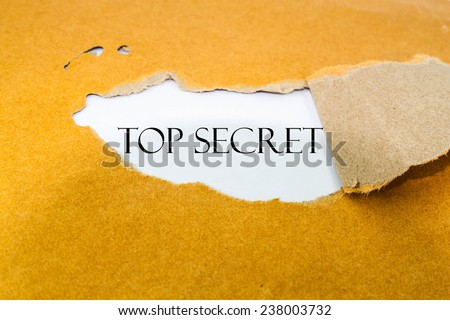 Text top secret on brown envelope  - stock photo