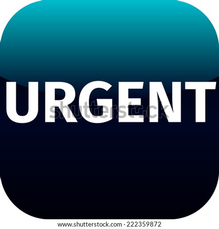 text urgent on blue icon - for web or phone app