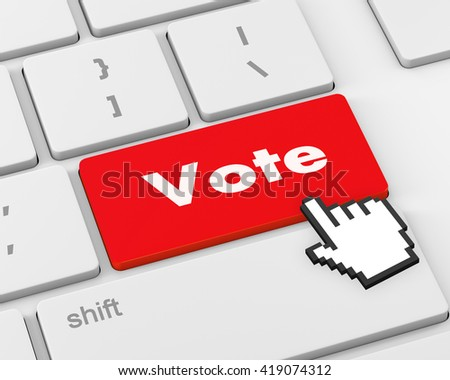 Text vote button, 3d rendering