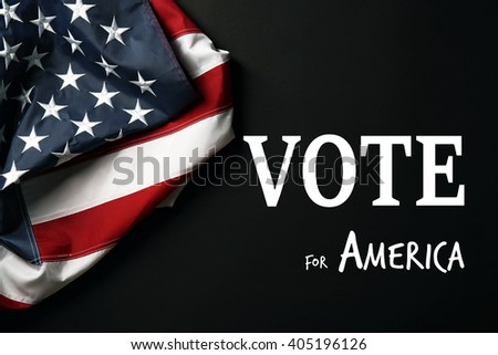 Text Vote for America and USA National Flag on black background - stock photo