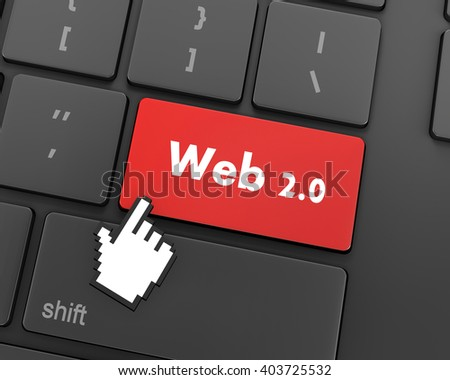 Text web 2.0 button, 3d rendering