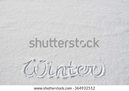 Text WINTER hand written on snow background. Horizontal postcard template. Space for copy, lettering. - stock photo