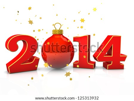 "Text ""2014"" with christmas bauble and stars on the white background."