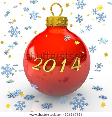 "Text ""2014"" with christmas bauble, snowflakes and stars on the white background."