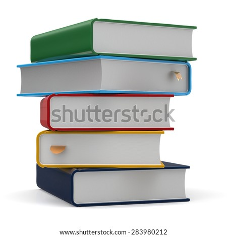 Textbook stack books five 5 blank different colorful multicolor and bookmark. School studying information content learn icon concept. 3d render isolated on white background - stock photo