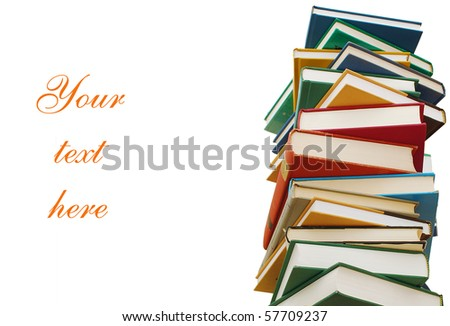 textbooks with adding text - stock photo