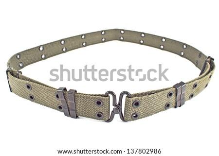 Textile army belt isolated on white - stock photo