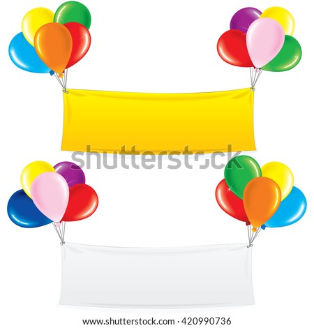 Textile Banner on Colorful Helium Balloons. Festive Birthday Decoration Ready for Your Text and Design. - stock photo