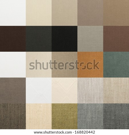 Textile chart with many color and texture samples - stock photo