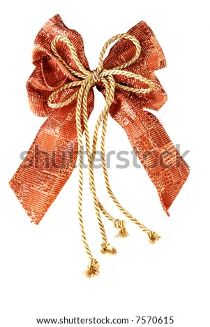 textile christmas ribbon isolated on white - stock photo