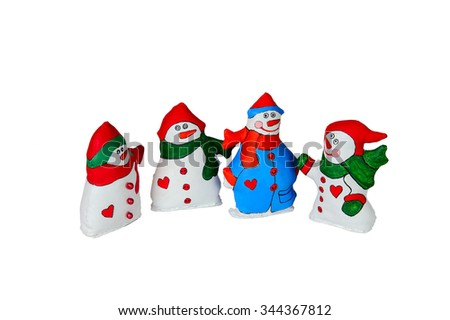 textile Christmas tree toys isolated on white background