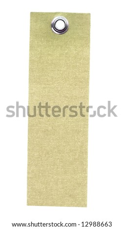 Textile label isolated on white