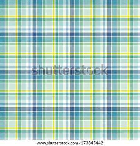 textile plaid background in green, blue, yellow  - stock photo