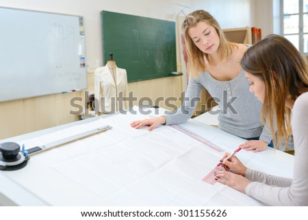 Textiles class - stock photo