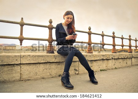 texting girl - stock photo