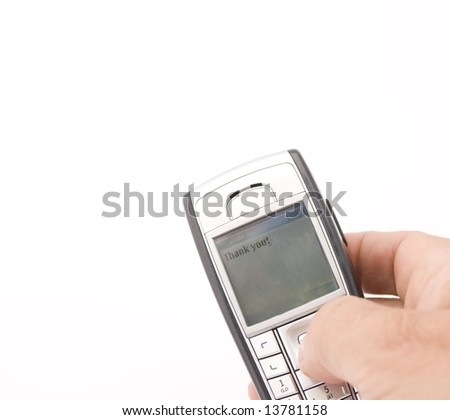 Texting thank you on mobile phone isolated on white - stock photo