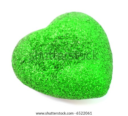 Textural green heart over white background