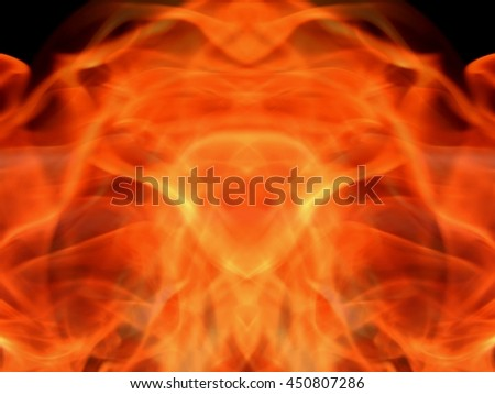 Texture abstract image of fiery flame fire on a black background - stock photo