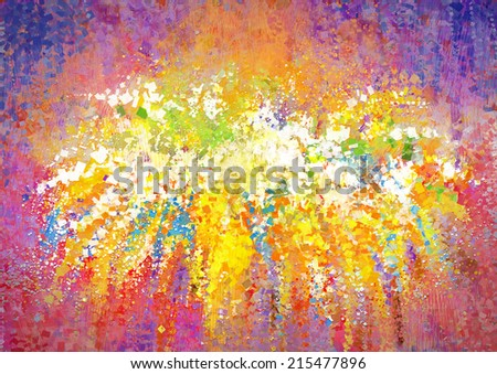 Texture, background and Colorful Image of a Digital Abstract Painting - stock photo