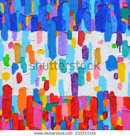 Texture, background and Colorful Image of an original Abstract Painting on Canvas. - stock photo