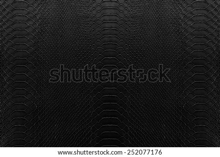 Texture background of black reptile leather - stock photo