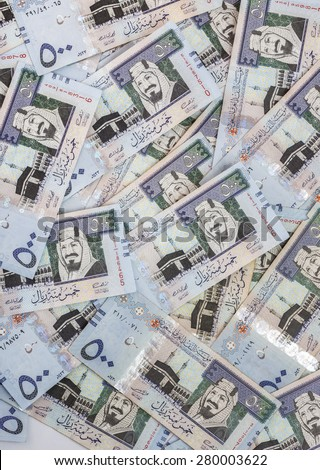 Texture Background of Five Hundred Saudi Riyals Banknotes - stock photo