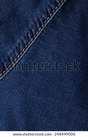 texture blue denim with stitching - stock photo