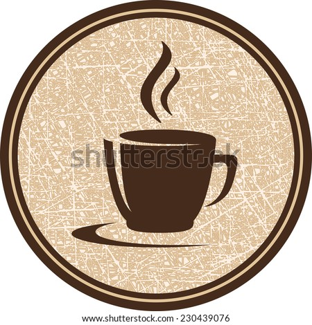 texture brown coffee cup icon in round frame