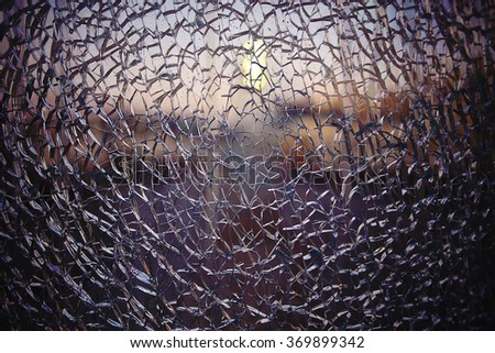 texture cracked fractured glass - stock photo