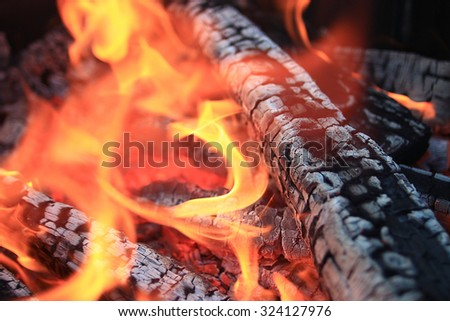 texture fire bonfire embers - stock photo