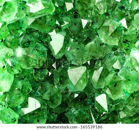 Texture from natural green crystal - stock photo