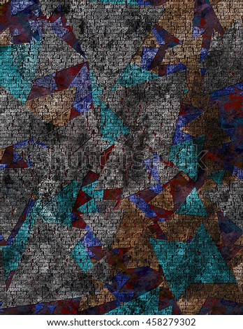 Texture in gloomy colors with words - stock photo