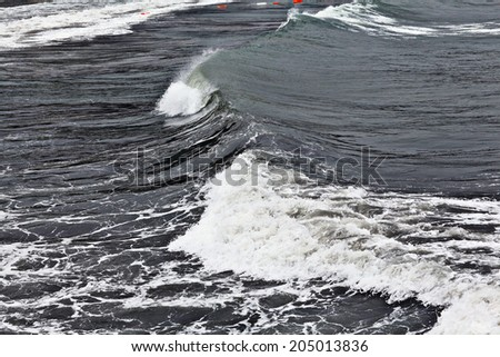 texture of a storm at sea gray waves - stock photo