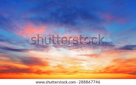 Texture of bright evening sky during sunset - stock photo