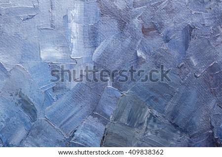 Texture of brushstrokes of blue paint on a canvas - stock photo