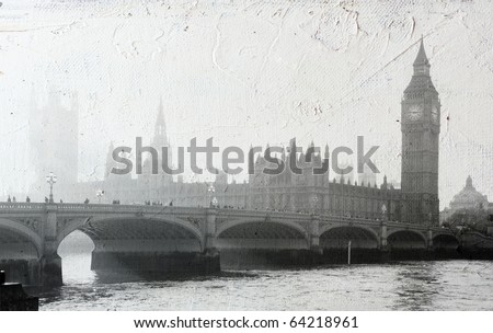 texture of canvas with Buildings of Parliament in London UK view from Themes river. - stock photo