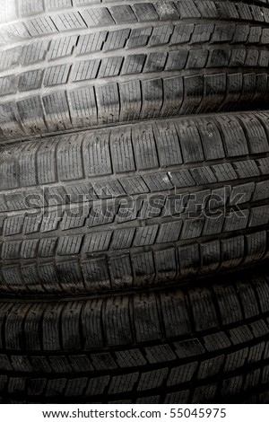 Texture of car tires - stock photo