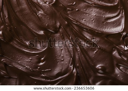 texture of chocolate icing close-up - stock photo